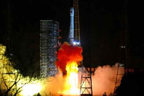 Rocket takes off leaving a bowl of fire at it's rear end. Signifying a new space race?