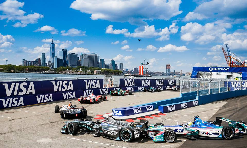 image of the Formula E 2017 New York ePrix. What a day to holding an inaugural race! All bright and sunny. A perfect still that captures the future desired by such sustainability initiatives