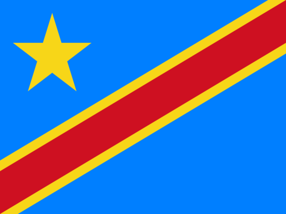 Flag of Democratic Republic of the Congo a Africa Cup of Nations 2019 finalist