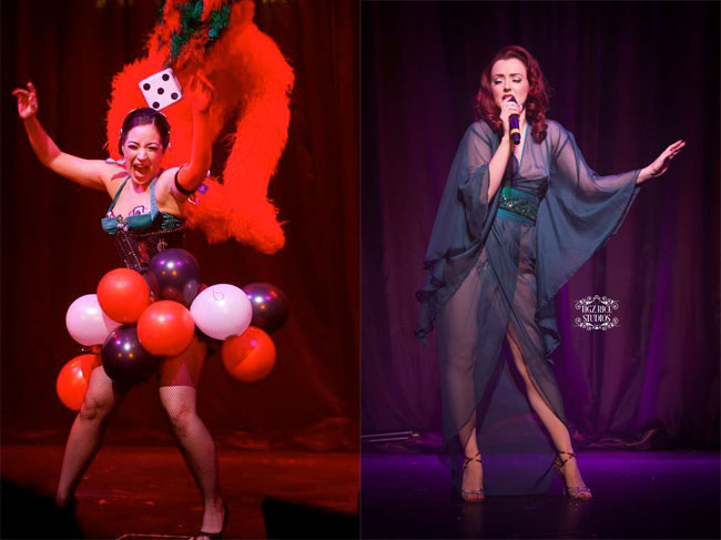 Kitty Bang Bang (left) ©Soho Burlesque Club  and Polly Rae (right) ©Tigz Rice  in Between the Sheets.