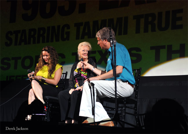 Tammi True is interviewed onstage at the premiere of True Tales at the historic Texas Theatre in Dallas.  ©Derek Jackson