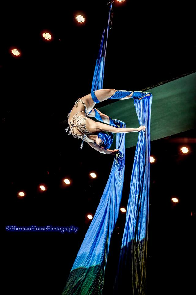 Reigning Queen of Burlesque 2014 Midnite Martini performs a captivating aerial display at the Burlesque Hall of Fame Weekend 2014 Tournament of Tease. ©Chris Harman/Harman House Photography