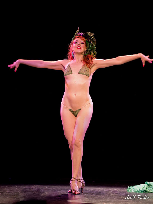 """Burgundy Brixx: """"Just me - nearly naked and feeling totally triumphant in the moment as usual! From The Shanghai Pearl's Burlesque Royale at the Triple Door in Seattle."""" ©Scott Foster"""