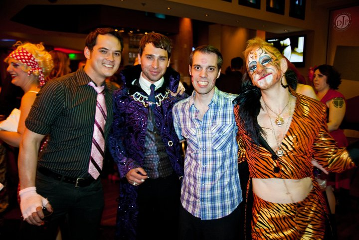David Bishop (second right) hanging out with Bazuka Joe (left), Jett Adore (second left) and Tigger! (right) at the Burlesque Hall of Fame Weekend 2011.  ©Derek Jackson