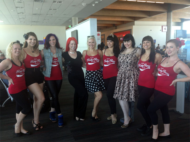The Ruby Revue and friends arrive in Vegas for the Burlesque Hall of Fame Weekend 2014.  ©Ginger Valentine