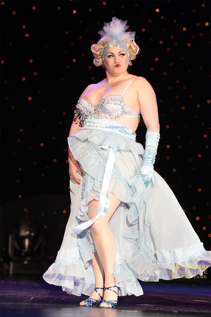 April O'Peel competing for Miss Exotic World, Reigning Queen of Burlesque at the Burlesque Hall of Fame Weekend 2014.  ©Don Spiro