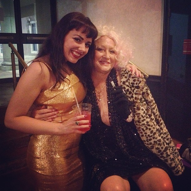 Adèle Wolf and burlesque legend Camille 2000 at the Texas Burlesque Festival 2013.