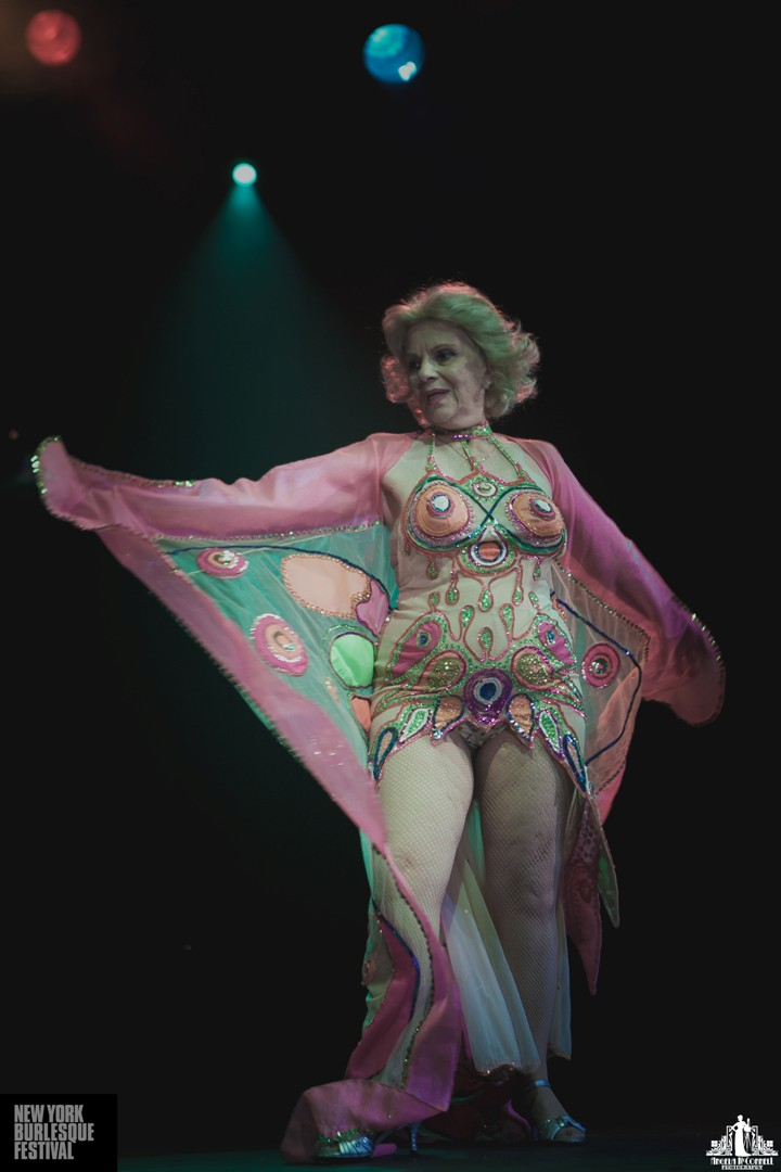 Burlesque legend Val Valentine at the New York Burlesque Festival 2014.  ©Angela McConnell