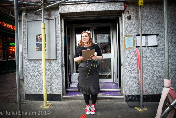 Cabaret Roulette producer Vivacity Bliss collected signatures for the #SaveMadameJojo's petition. Approximately 400 signatures were collected on the day. ©Juliet Shalam