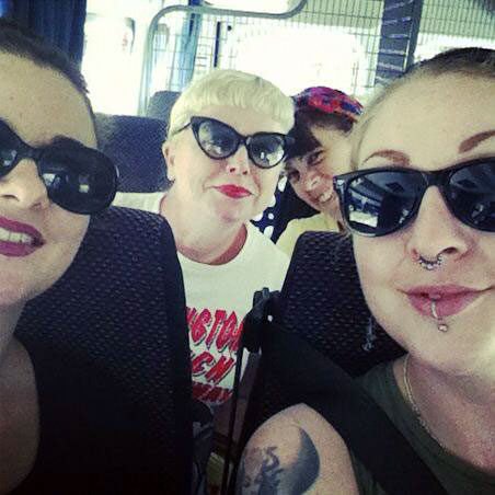 Lola, Dolores, Sarina and Kerry on board a plane for Betoota.  ©Lola the Vamp/Sarina Del Fuego