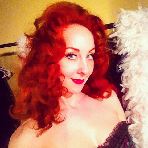 Ruby Joule in a burlesque tribute selfie to Tempest Storm.
