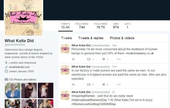 Tweets, presumably by What Katie Did founder Katie Thomas, now deleted.