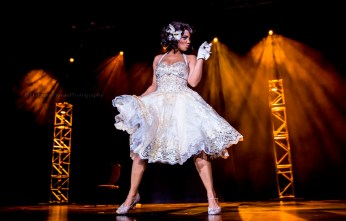 Miss Exotic World, Reigning Queen of Burlesque 2016 Poison Ivory in the Viva Las Vegas Burlesque Showcase, April 2016. ©Chris Harman/Harman House Photography for 21st Century Burlesque Magazine. Not to be used without permission.