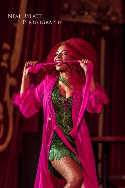 Cece Sinclair stars in Burlesque Noir at the Blackpool Tower Ballroom. Photo Neal Rylatt Photography.