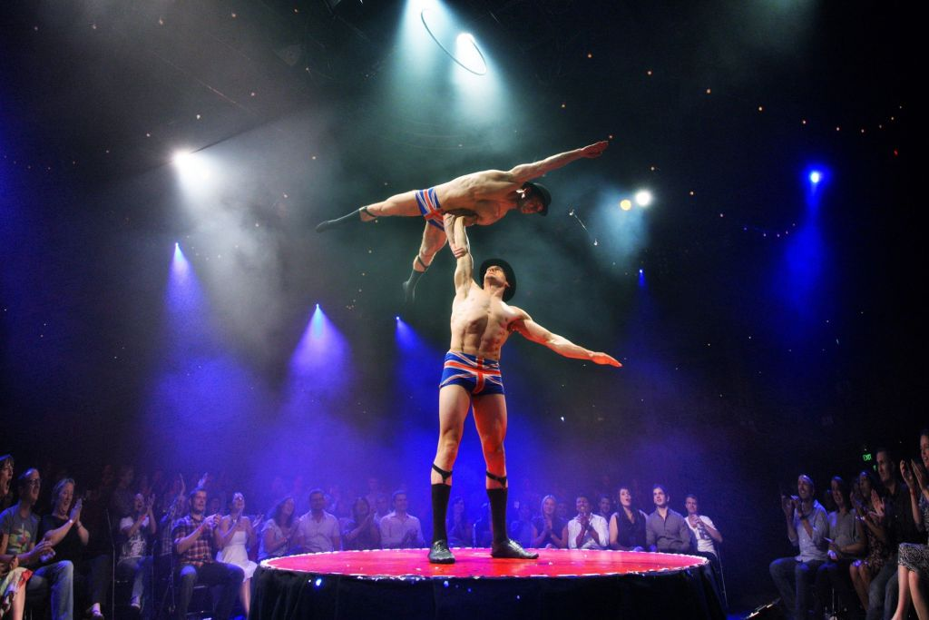 Hamish McCann with Denis Lock as The English Gents in La Soirée at Christmas in Leicester Square. Image by Prudence Upton