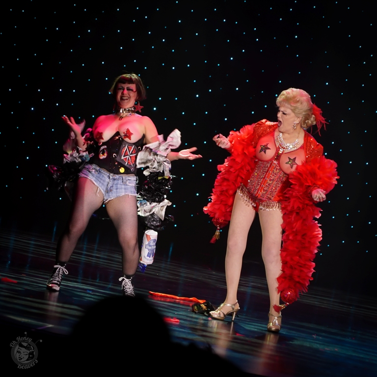 Penny Starr Jr. and Sr. in the 60th annual Titans of Tease Burlesque Reunion Showcase at the Burlesque Hall of Fame Weekend 2017. Image by Honey Beavers, exclusively for 21st Century Burlesque Magazine