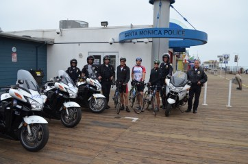 Posing with our police escort before embarking on the 21 day, 2,100+ mile journey to Chicago.