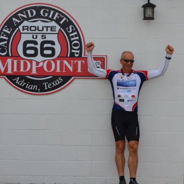 Celebrating after riding the first 1,200 miles.