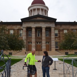 In front of the Old State Capitol with long time friend Carla Knorowski, CEO of the Abraham Lincoln Presidential Library Museum Foundation.