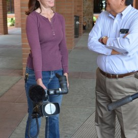 Elise Wilson, Aspen Pro Media, with Albert Pooley, founder of the Native American Fathers Families program, headquartered in Mesa, AZ.