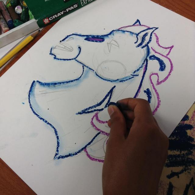 Students in MsMatsumotos class are making colorful mustangs womatsumoto