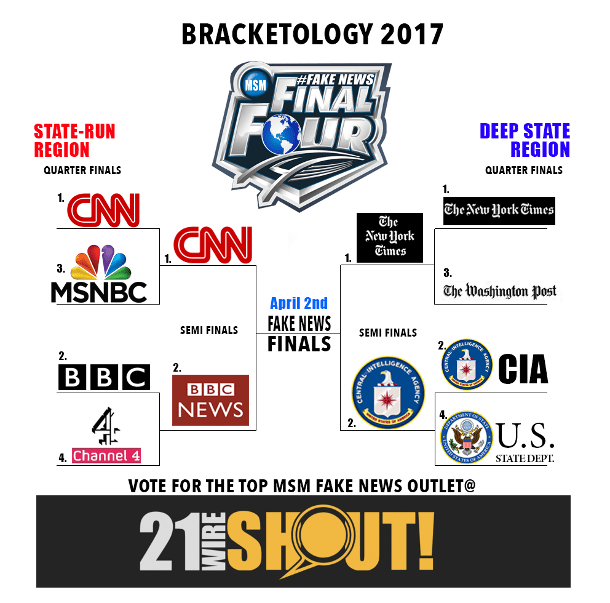 VOTE FOR THE TOP MSM FAKE NEWS OUTLET @21WIRE SHOUT!