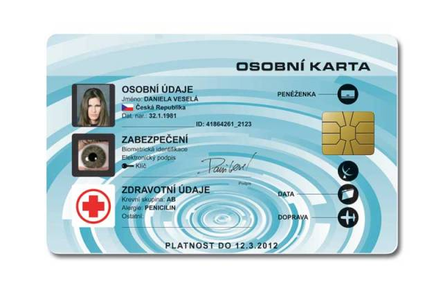 """Univerzální elektronická karta bude obsahovat údaje, které nosíme v peněžence na několika kartách a průkazech. Biometrická data umožní jednoznačnou identifikaci nositele. Díky tomu by nemělo být problémem jednání s úřady přes internet. Tak si například se španělskou kartou """"internet ID card""""  zařídíte nový pas."""