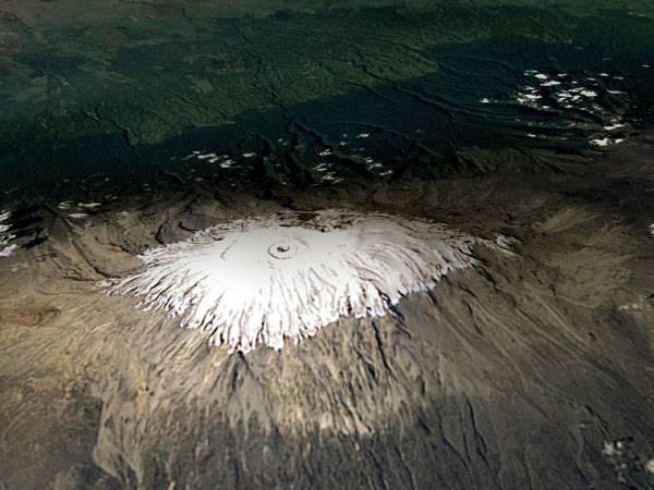 """Kilimandžáro, zvané též """"Zářící hora"""" pravděpodobně brzy dozáří. Podle profesora Lonnie Thompsona z university v Ohiu může ledovec definitivně zmizet již v roce 2020."""