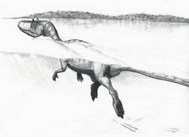 Zkamenělé stopy prozradily, že mezi druhohorními ještěry byly i suchozemské druhy schopné plavat v silném proudu.
