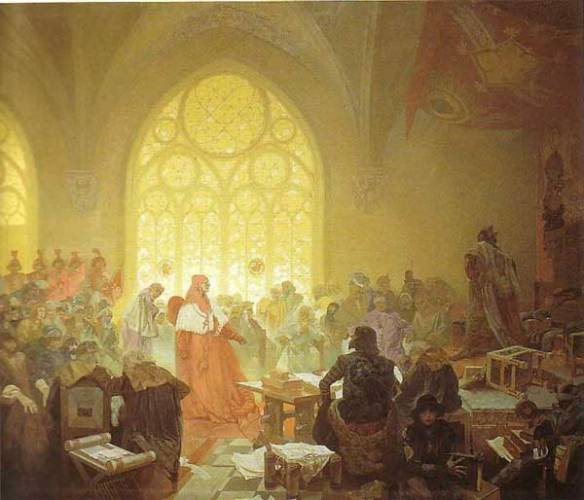 Je konec října 1439. Na tažení proti Turkům umírá na úplavici ani ne čtyřicetiletý římský, uherský a český král Albrecht Habsburský. Zanechává po sobě třicetiletou těhotnou vdovu Alžbětu Lucemburskou, které se čtyři měsíce po jeho smrti narodí syn Ladislav. Protože přichází na svět až po otcově smrti, vstupuje do dějin s přídomkem Pohrobek.