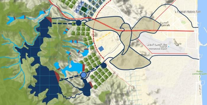 Sokolí vodní koridor o délce 42 kilometrů bude mít při pohledu zletadla opravdu tvar tohoto dravce srozpřaženými křídly. Ikonického symbolu Fudžajry, jedné ze sedmi zemí Spojených arabských emirátů. Tento umělý vodní průplav bude srdcem grandiózního díla, jež má přinést emirátu o rozloze 1166 kilometrů čtverečních spouhými 130000 obyvateli, žijícími uprostřed pouště, blahodárnou vodu i elektřinu. A vrátit sem i stovky hektarů zeleně.
