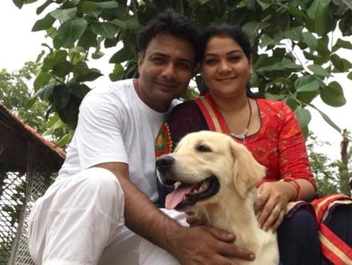 Hemant Kher with his dog