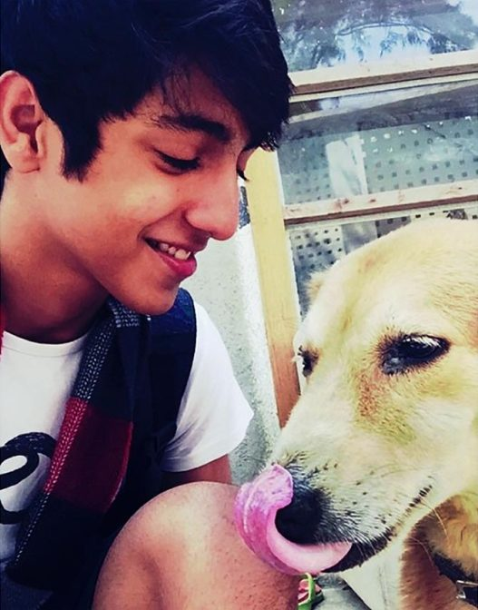 Ahaan Panday with a dog
