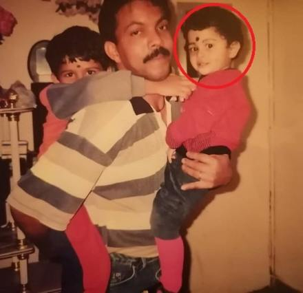 Adline Castelino's childhood picture with her father and sister