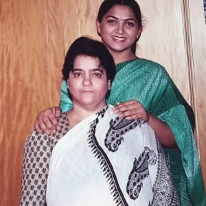 Kushboo Sundar with her mother