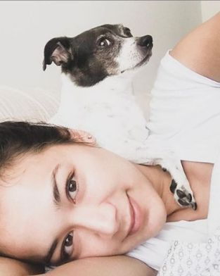Samantha Win with her pet
