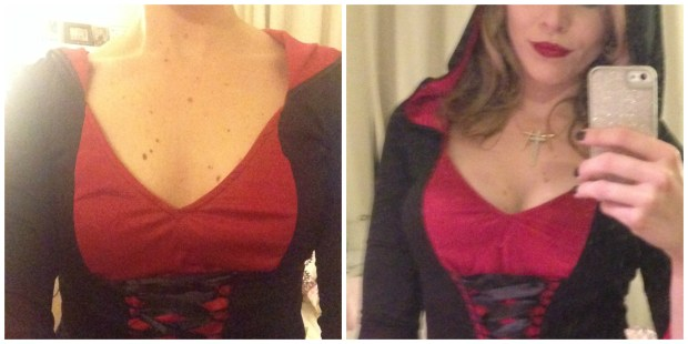 Regular push-up bra on the left, Bombshell bra with socks and contouring on the right