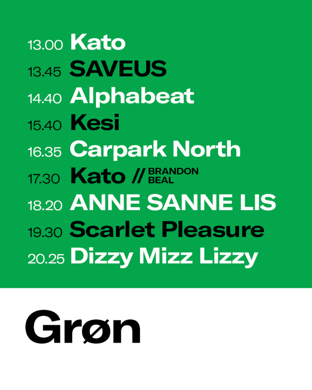 grøn koncert program tidsplan