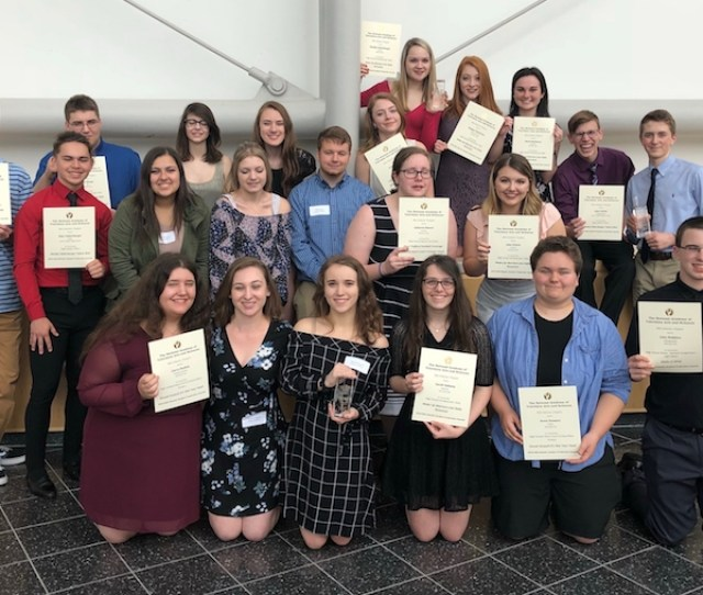 Penn Trafford High School Students Captured The Natas Award For Best Live Daily Newscast For Their Show Wake Up Warriors Front Row L To R Cierra
