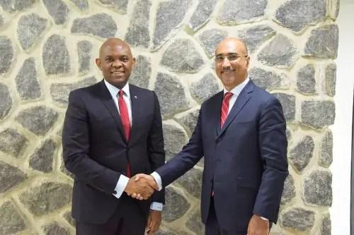 Group Chairman, United Bank for Africa(UBA) Plc, Mr. Tony O. Elumelu(CON) and the new Non-Executive Director, UBA Plc Mr Abdoul-Aziz Dia
