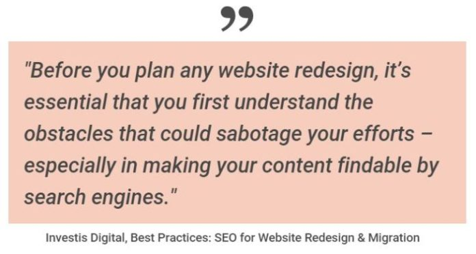 planning a website redesign for searchable content for search engines and SEO