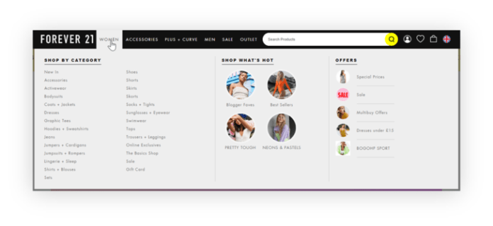 example of forever 21 good site navigation to main pages