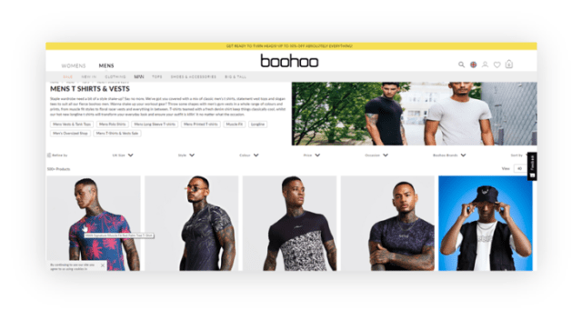 boohoo example of bad site navigation, how one poorly sized image affects UX of whole page