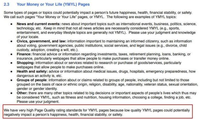 Google's page quality rating standards for YMYL websites