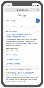 paid search example VRBO