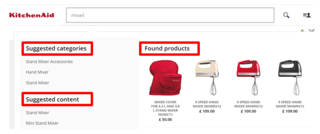 Smart site search solution ecommerce example