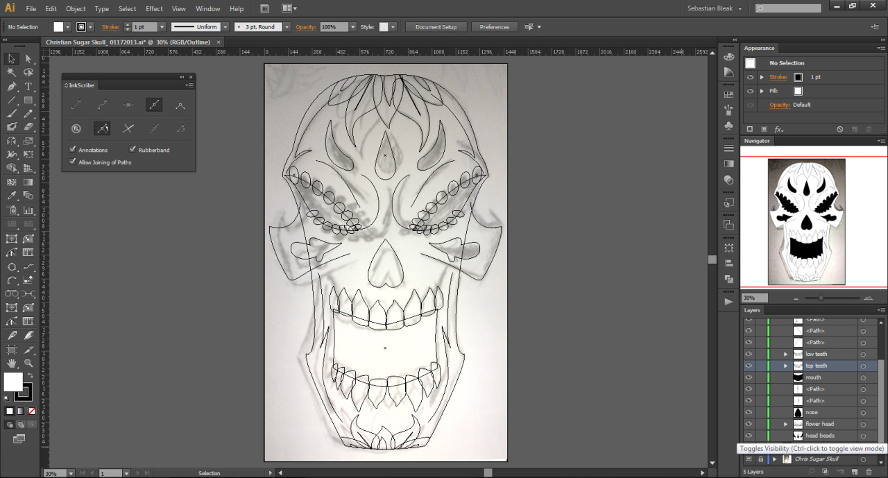 Outlline Mode for day of the dead illustration