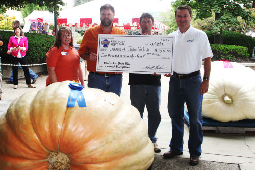Charlie Brown won't have any trouble finding this great pumpkin! James & John Van Hook grew a 1,075 lbs. pumpkin to win the Largest Pumpkin Contest in 2012! See more large pumpkins at this year's Kentucky State Fair during the Largest Pumpkin Contest on Friday, August 16 at 11:30 a.m.