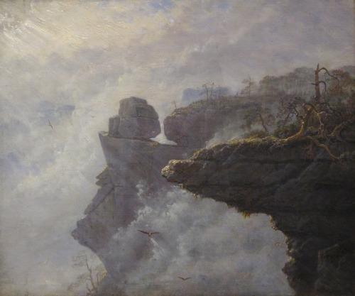 Carl Gustav Carus(1789-1869)  Nebelwolken in der Sächsischen Schweiz, 1828