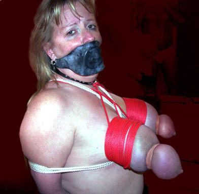 big tits tied bondage bed